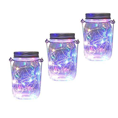 Solar Mason Jar Lantern Light, 3 Pack 20 Led String Starry Hanging Lamp, Fairy Firefly Lights Kit for Patio Garden Wedding Table Decor with Mason Jar & Hanger