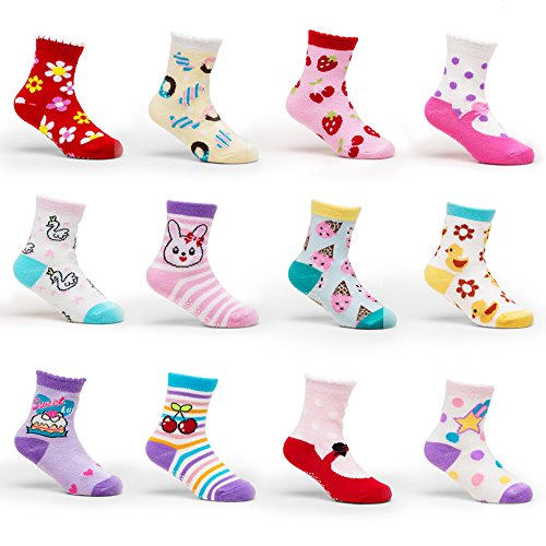 Yimaler 12-Pack Anti-Slip Soft Cotton Colorful Socks for Baby Kid for 12-36 Months Cute Cartoon Printed Baby Boys Girls Toddlers Non-Skid Socks for Size 3.5''-4.7'' …