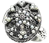 Poison Locket Cultured Seed Pearl Sterling Silver Ring - Dahlia Vintage Collection