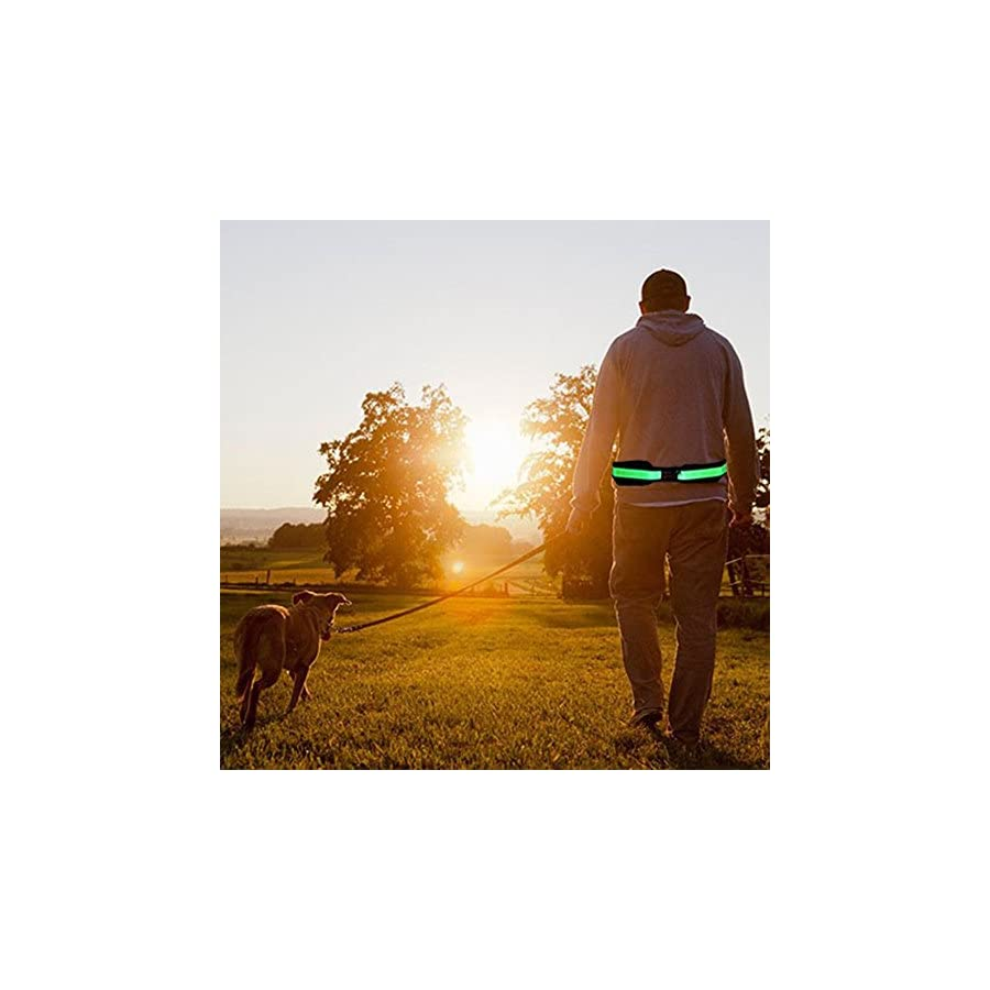 BSEEN Led Running Belt USB Rechargeable Reflective Waist Pack High Visibility Fanny Pocket for Running, Camping, Walking, Cycling