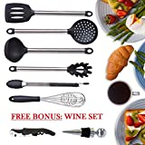 Kitchen utensil set - cooking utensils - kitchen tools - spatula - free bonus: corkscrew wine bottle opener stopper - spatula - tongs - whisk - soup ladle - pasta server - nonstick utensils set