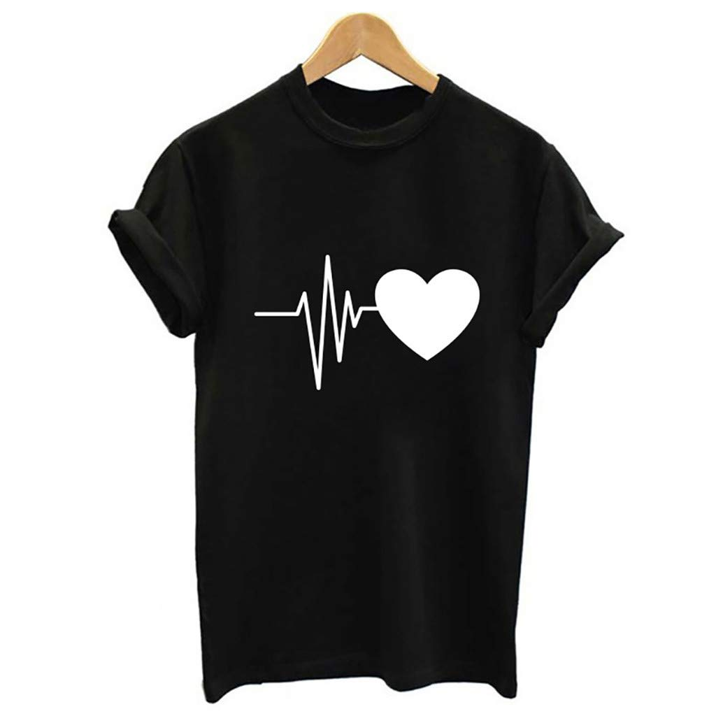 YFancy Summer Fashion Womens Girl Hot Popular Loose Casual Short-Sleeved Heart Print T-Shirt Casual O-Neck Tank Top