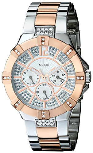 GUESS-Womens-U0024L1-Dazzling-Silver-Rose-Gold-Tone-Sport-Watch