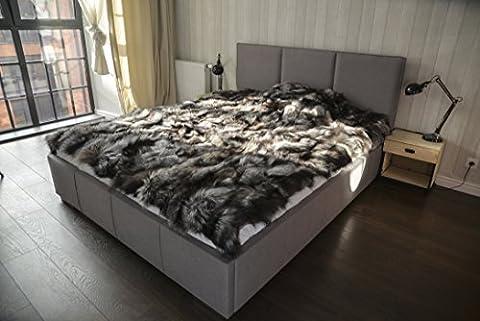 Luxury Fox Real Fur Throw King Size Furry Rug Bedspread Genuine Fur Blanket (King, Natural Silver) (Fox Fur Rug)