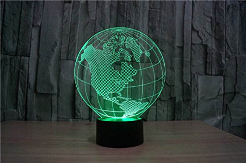 WONFAST® 3D World American Globe Optical Illusion Lighting 7 Colors Change Touch Switch LED Table Lamp Children's Night Light for Home Decoration Household Bedroom by WONFAST (Image #2)'