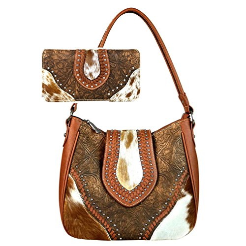 Trinity Ranch by Montana West Handbag Wallet Set Hair on Leather Hobo Bag TR56-8291 (Brown) by Montana West