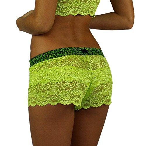 Leopard Green Neon (Neon Green Lace Boxer | Leopard Print Band)