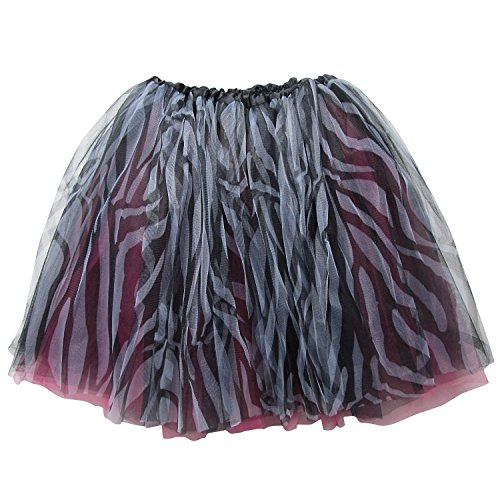 Zebra Costume Dance (Adult Size 3-Layer Tutu Skirt - Princess Costume Ballet Party Warrior Dash/Run (Hot Pink Zebra))
