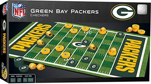 MasterPieces NFL Green Bay Packers Checkers Board Game Set, For 2 Players, Ages 6+