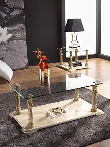 Mesa de Centro | Rectangular | Clasica | Medida 110 X 60 X 45 cm. | Malta | Base en marmol travertino | Tapa de Cristal 10 mm Grosor | Columnas en Bano Metalico | Gran Estabil
