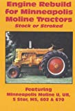 Engine Rebuild for Minneapolis Moline Tractors; Stock or Stroked; Featuring Minneapols Moline U, UB, 5 Star, M5, 602 and 670