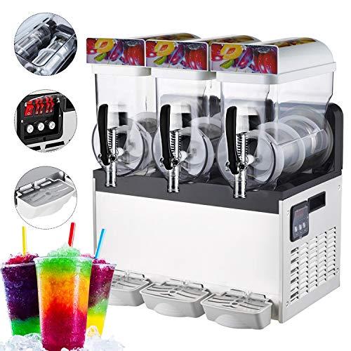 110V Slushy Machine 15L*3 Double-Bowl Slush Frozen Drink Machine 1000W Frozen Drink Maker Ice Slushies for Supermarkets Cafes Restaurants Snack Bars Commercial Use (15L*3 Triple-Bowl)