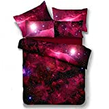 Alicemall Galaxy Bedding Twin XL Red Galaxy Fabric Polyester 4-Piece Bed Set, Duvet Cover, Flat Sheet and 2 Pillow Cases Outer Space Bedding Sets, No Comforter (Twin XL-11585889)