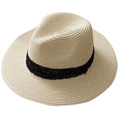 Lanzom Women Wide Brim Straw Panama Roll up Hat Fedora Beach Sun Hat UPF50+ (B-Khaki)