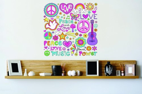 Flower Discounted Girl - Vinyl Wall Decal Sticker : Girl Images Love Hearts Peace Sign Rainbow Butterfly Stars Flowers Music Musical Notes Kids Power Guitar Bedroom Bathroom Living Room Picture Art Peel & Stick Mural - Discounted Sale Price Size: : 12 Inches X 12 Inches - 22 Colors Available