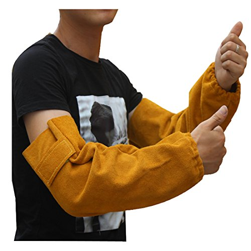 Leather Heat Resistant Welding Arm Sleeves Elastic Cuff Safety Work Spark Resistant Protection Arm ()