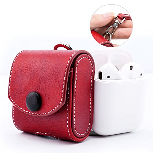 MoKo AirPods Case, Snap Closure Protective Cover Carrying Pouch Pocket, with Holding Strap, for Apple AirPods Charging Case - Red