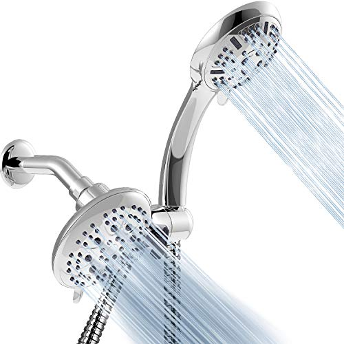 Apthrill 3-Way High Pressure Shower Head Combo - 9 Spray Settings Handheld Shower Head and 6 Spray Settings Rain Showerhead with 60 Inch Hose