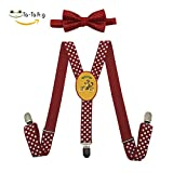 Xiacai Funny Squirrel Suspender&Bow Tie Set Adjustable Clip-On Y-Suspender Boys