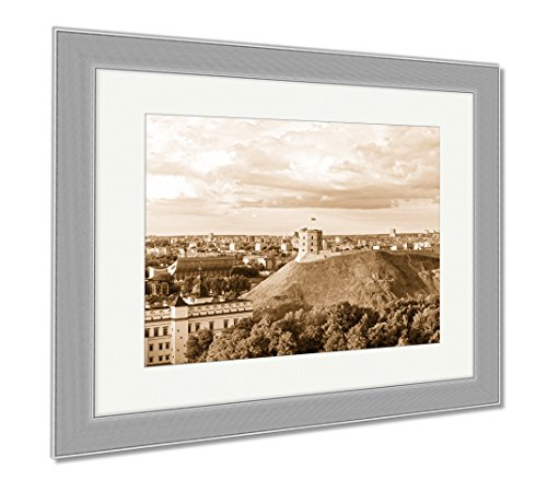 Ashley Framed Prints Panorama Of Gediminas Tower And Lower Castle In Vilnius, Contemporary Decoration, Sepia, 26x30 (frame size), Silver Frame, - Towers Castle Hill Shops