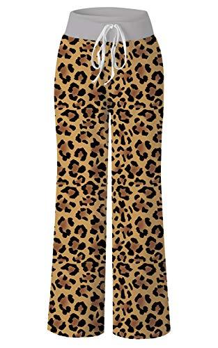 RAISEVERN Women's Summer Comfy Pajamas Pant Brown Leopard Print High Waist Drawstring Wide Leg Lounge Pants L (Lounge Pants Leopard)