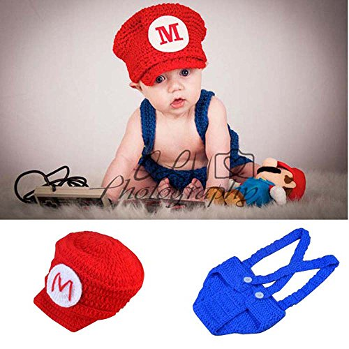 Osye Newborn Baby Crochet Knitted Outfit Mario Hat Costume Set Photography Photo Props, Red -