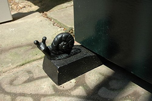 Small snail door stop (black) (hand painted), snail door wedge, door stop, door wedge, cast iron door stop, cast iron door wedge.