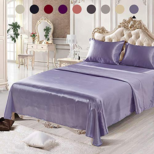 (Chanyuan 4 Pieces Lavender Satin Silk Sheets Set Queen Size Luxurious Smooth Silky Bedding Collection Soft Microfiber, 16