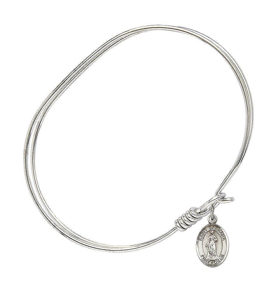 Bonyak Jewelry Oval Eye Hook Bangle Bracelet w//St Barbara in Sterling Silver