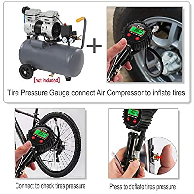 Tcisa Tire Inflator with Pressure Gauge - Digital Heavy Duty 200 PSI Air Pressure Gauge with Leakproof Air Chuck Valve Extender Rubber Air Hose Quick-Connect Fitting: Automotive