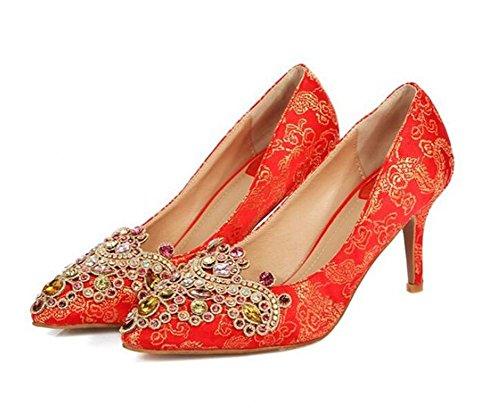 de 9 RED95CM Novia Zapatos Zapatos Rojo 5 37 Tacones Boda Red de cm Toe Altos Señaló con Fino Diamantes 39 de los XIE T7gO6Fqg