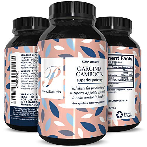 Best Garcinia Cambogia 95% HCA Weight Loss Vitamins - Fast Acting Fat Burn Supplements for Men & Women - Natural Appetite Suppressant Capsules - High Quality Capsules Boost Energy By Project Naturals