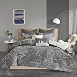 Urban Habitat Manhattan Comforter Reversible 100% Cotton Printed New York Embroidery Quilted Euro Soft Overfilled Down Alternative Hypoallergenic All Season Bedding-Set, King/Cal King, Charcoal