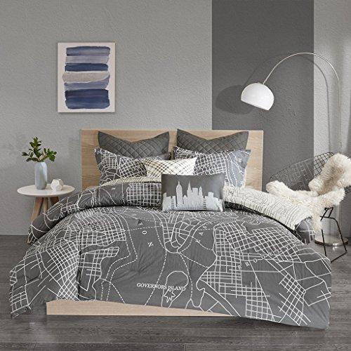 Urban Habitat Manhattan Reversible 7-Piece Printed Cotton Comforter Set Charcoal Full/Queen