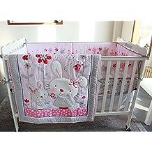 Pink Grey Ribbit 7 pcs crib set Baby Bedding Set Crib Bedding Set Nursery Crib Bumper bedding Fitted Sheet