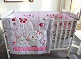 NAUGHTYBOSS Girl Baby Bedding Set Cotton 3D Embroidery Rabbit Flowers Insects Quilt Bumper Mattress Cover Bedskirt 7 Pieces Pink