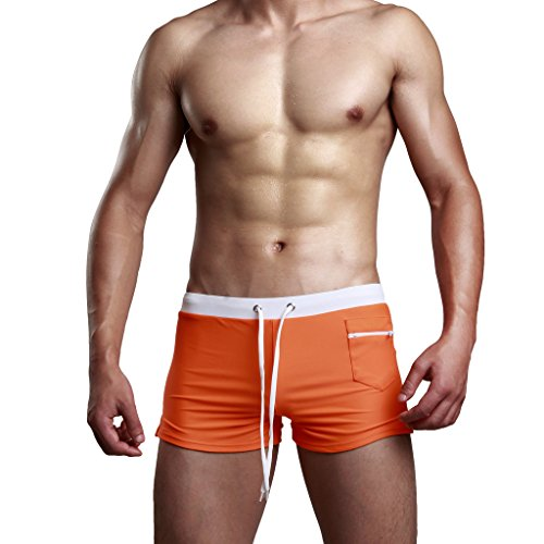 Men's Swimming Trunks Sexy Beachwear Short Solid Color Size M, Orange