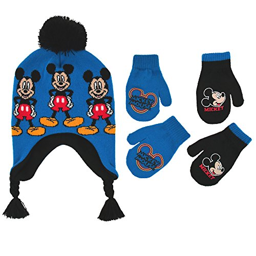 Disney Little Boys Mickey Mouse Hat and Additional Pairs Gloves or Mittens Cold Weather Accessory Set, Ages 2-7
