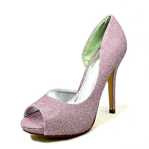 Ladies glitter covered high heel one sides party shoes pink glitter NJJCXtl6
