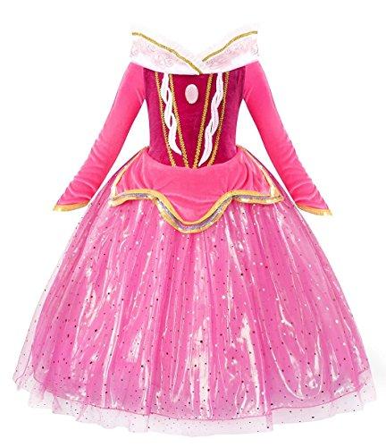 HenzWorld Little Girls Aurora Princess Dress Party Queen Halloween Costume Sleeping Long Sleeve Outfits Size 6-7 Years