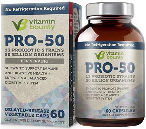 Vitamin Bounty Pro 50 Probiotic with Prebiotics - 13 Strains, 50 Billion CFU, for Gut and Digestive Health with Delayed Release EmbocapsTM & Fermented Greens (Highest Rated Probiotics)