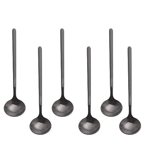 Pukka Home Cucharas de Postre 18/10 Acero Inoxidable 6 Piezas Set de Mini Cucharillas para Sugar Espresso Cucharas de té y café,Manija esmerilada de 5 ...