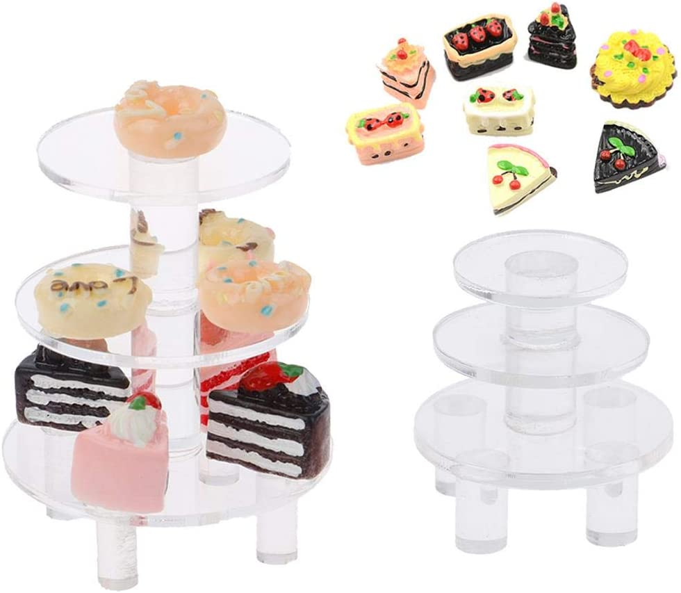 IYSHOUGONG 2 Pcs Mini Acrylic Display Stand with 8 Pcs Resin Miniature Food Cakes Biscuit Acrylic Fruit Tray Doll Kitchen Toys for Dollhouse Decoration