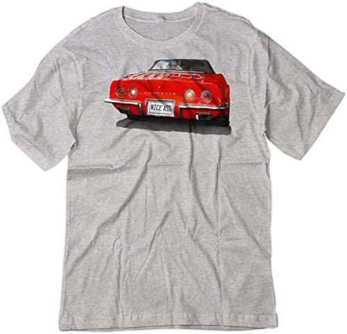 BSW Men's Nice Ass 1973 Chevrolet Corvette C3 V8 Muscle Car Shirt LRG Sport Grey