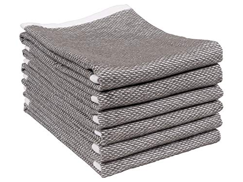 Reversible Terry Web Kitchen Towels | Set of 6 18 x 28 Inch Absorbent, Durable, Beautiful, and Luxuriously Soft Kitchen Towels | Perfect for Kitchen Spills, Cleaning, and Drying Your Hands - Gray