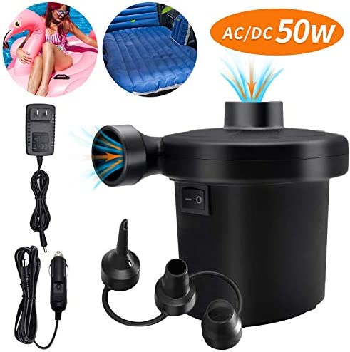 Electric Air Pump for Inflatables Portable Quick Air Pump for Air Mattress 110V AC/12V DC Inflator/Deflator Pumps for Outdoor Camping Inflatable Cushions Air Beds Boats Swimming Ring 50W