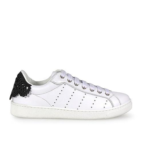 Zapatilla Santa Monica Blanca con Encaje Negro DSQUARED2: Amazon.es: Zapatos y complementos