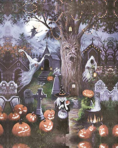 Diamond Painting by Number Kit, LPRTALK 5D DIY Diamond Painting Halloween Full Round Drill Spooky World Embroidery for Wall Decoration 12X16 inches (Full Drill) -