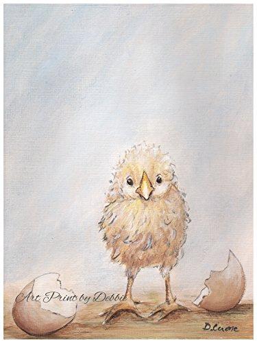 Baby Chick Art Baby Chicken Print Farm Nursery Art, Yellow C