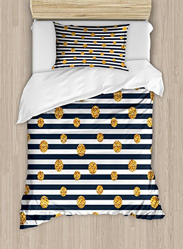 Gold and White Twin Size Duvet Cover Set by Ambesonne, Thin